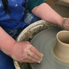 Pottery being worked on